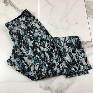 Nike• Cream & Blue Pattern Athletic Leggings